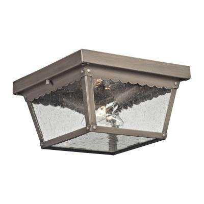 Springfield 2-Light Antique Nickel Outdoor Flushmount