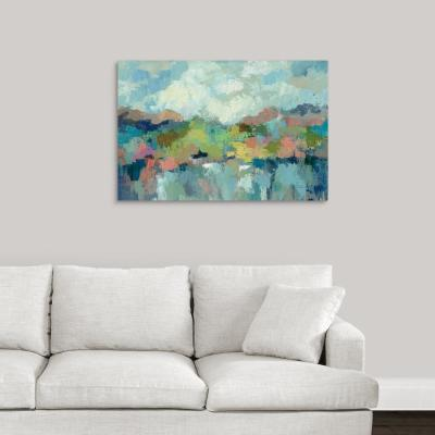 "36 in. x 24 in. ""Abstract Lakeside"" by  Silvia Vassileva Canvas Wall Art"