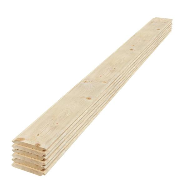 1 in. x 6 in. x 6 ft. Eased Edge Pine Shiplap Board (6-Pack)