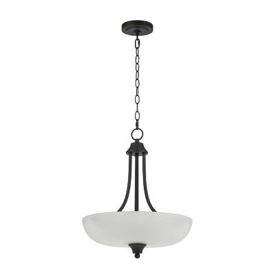 2-Light Bronze Inverted Pendant with Etched Glass Shade