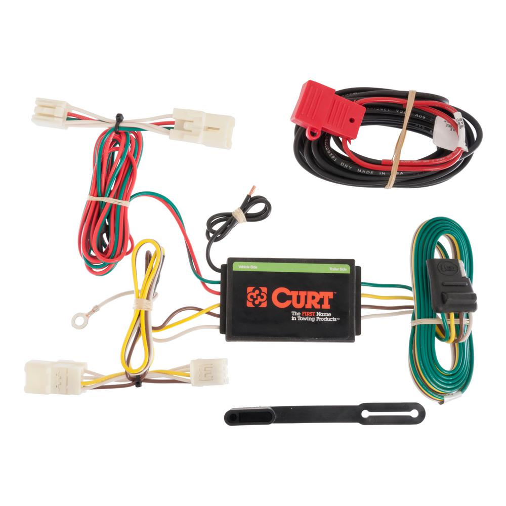 CURT Custom Vehicle-Trailer Wiring Harness, 4-Way Flat Output, Select Toyota RAV4, Quick Electrical Wire T-Connector