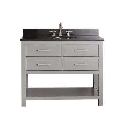 Brooks 43 in. W x 22 in. D x 35 in. H Vanity in Chilled Gray with Granite Vanity Top in Black and White Basin