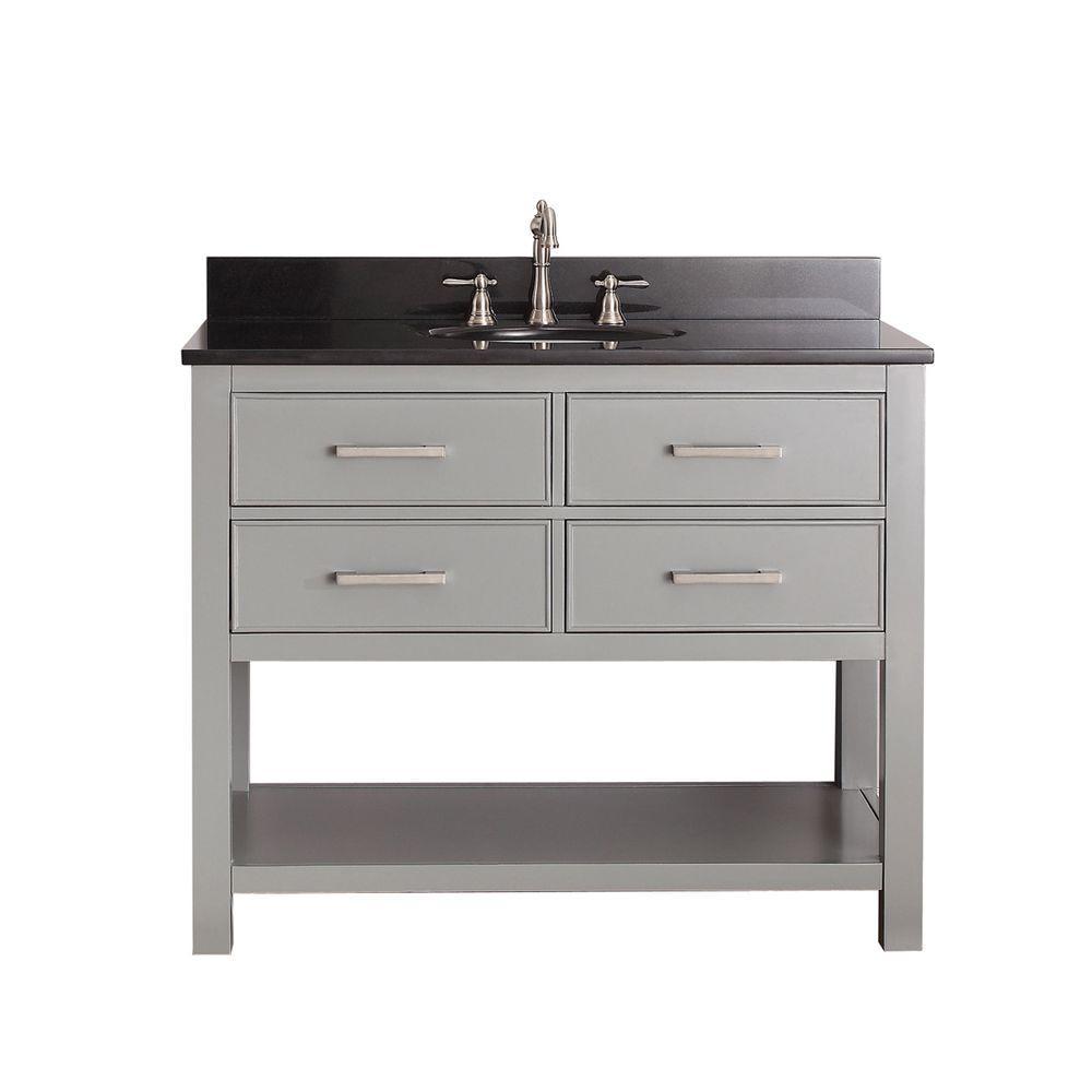 Brooks 43 in. W x 22 in. D x 35 in. H Vanity in Chilled Gray with Granite Vanity Top in Black and White Basin