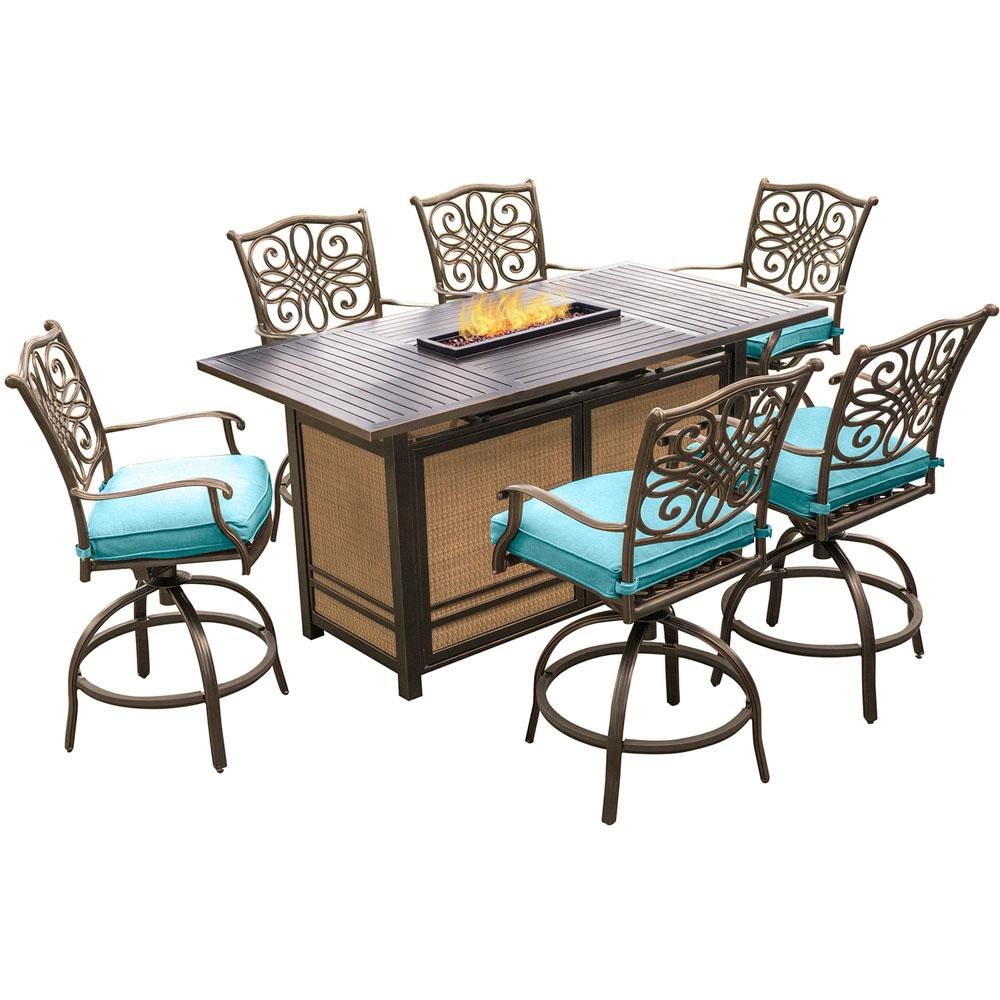 Hanover Traditions 7-Piece Aluminum Rectangular Outdoor High Dining ...