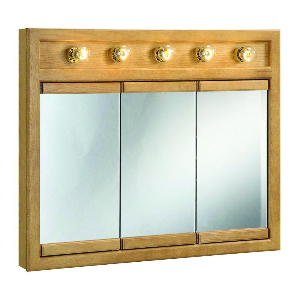 Richland 36 in. W x 30 in. H x 5 in. D Framed 5-Light Tri-View Surface-Mount Bathroom Medicine Cabinet in Nutmeg Oak