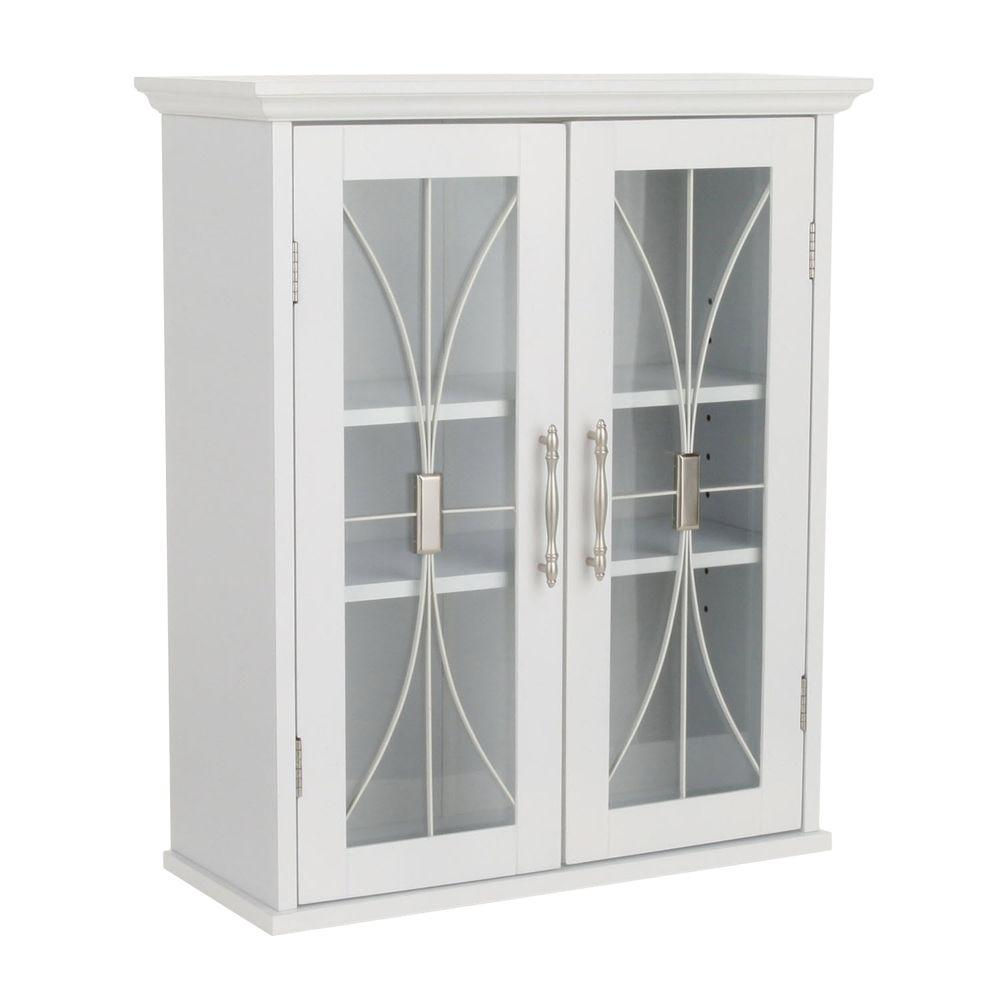 Elegant Home Fashions Victorian 20 1 2 In W X 24 H 8 D Bathroom Storage Wall Cabinet With Gl Doors White