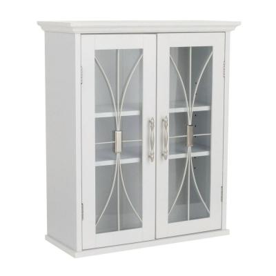 Victorian 20-1/2 in. W x 24 in. H x 8-1/2 in. D Bathroom Storage Wall Cabinet with 2 Glass Doors in White