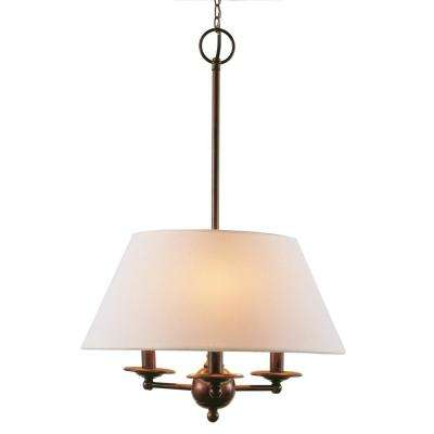 3-Light Rubbed Oil Bronze Chandelier with Linen Shades