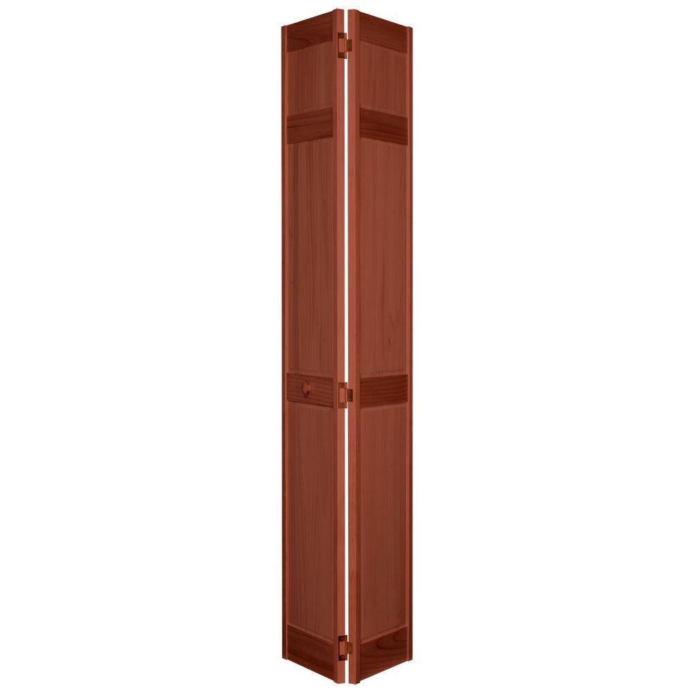 32 in. x 80 in. 6-Panel Cherry PVC Composite Interior Bi-fold Door