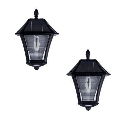 Baytown II Bulb 2-Light Black Resin Solar Outdoor Wall Sconce (2-Pack)