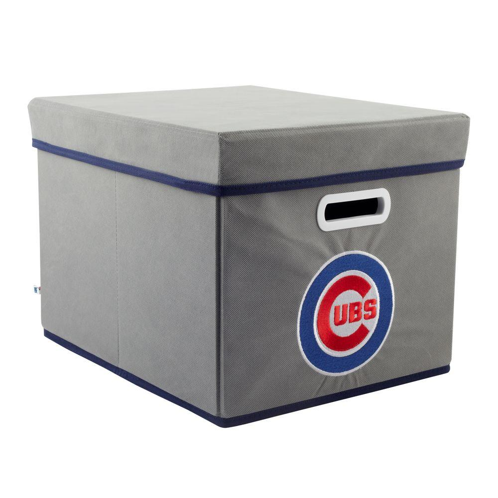 MyOwnersBox MLB STACKITS Chicago Cubs 12 in. x 10 in. x 15 in. Stackable Grey Fabric Storage Cube