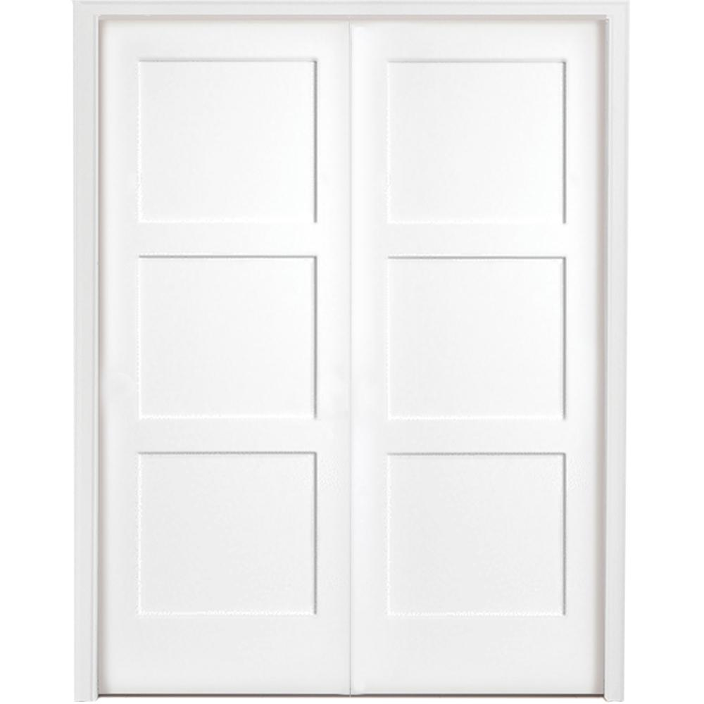 Steves Sons 48 In X 80 In 3 Panel Equal Shaker White Primed Solid Core Wood Double Prehung