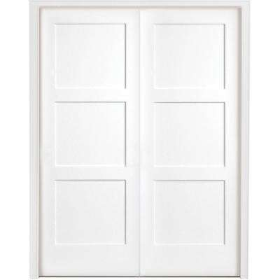 48 in. x 80 in. 3-Panel Equal Shaker White Primed Solid Core Wood Double Prehung Interior Door with Bronze Hinges