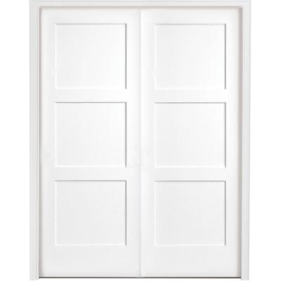 60 in. x 80 in. 3-Panel Equal Shaker White Primed Solid Core Wood Double Prehung Interior Door with Nickel Hinges