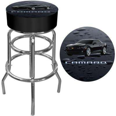 Black Camaro 31 in. Chrome Swivel Cushioned Bar Stool
