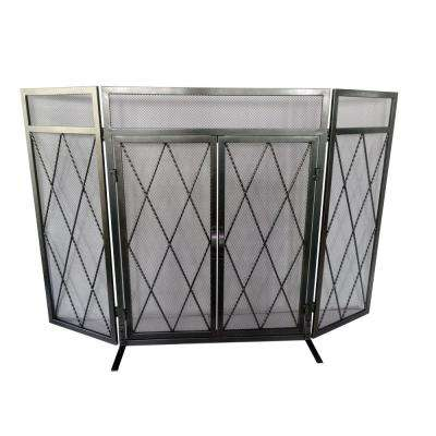 Kempston Park Pewter 3-Panel 50 in. Fireplace Screen with Doors