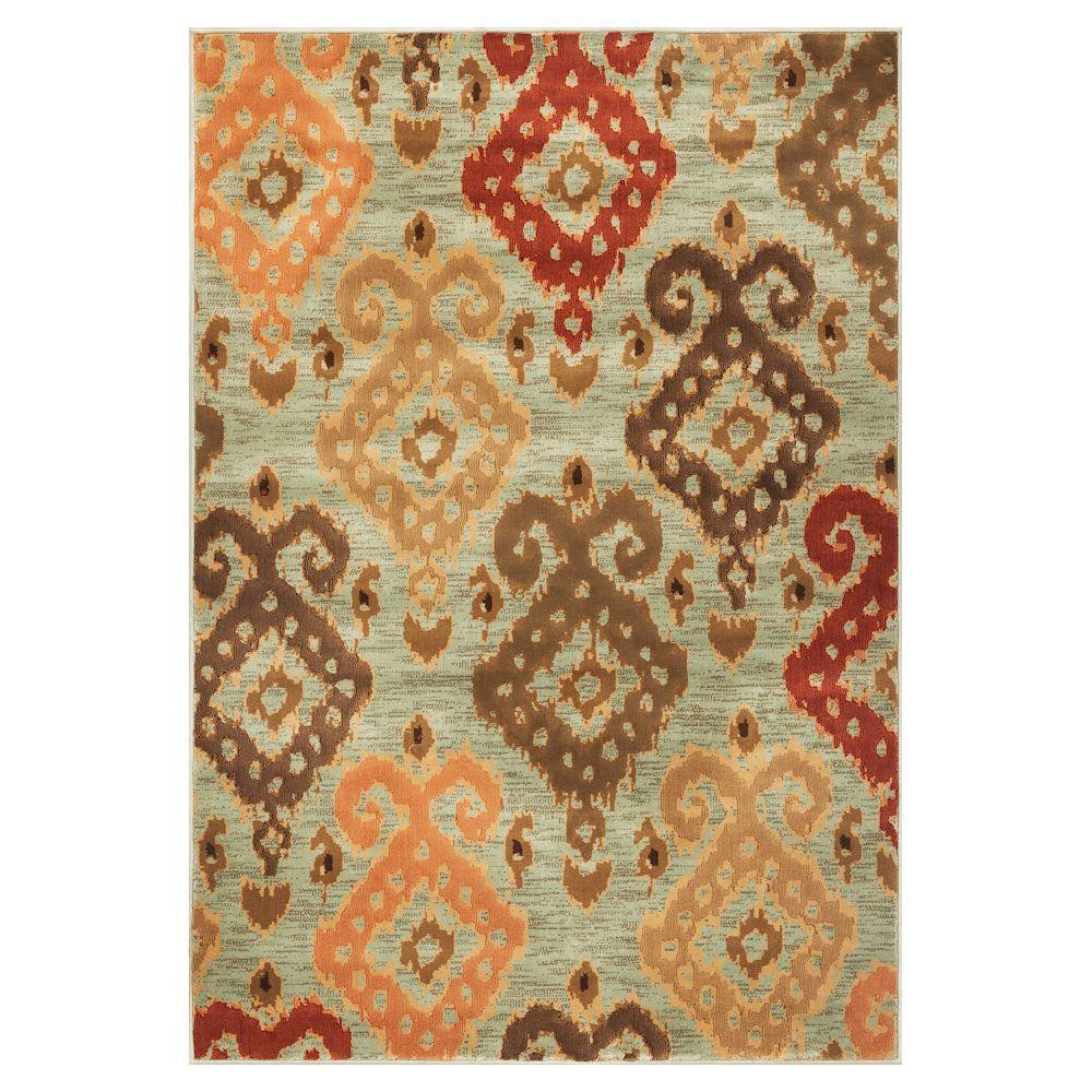 Kas Rugs Soft Ikat Blue 5 ft. 3 in. x 7 ft. 8 in. Area Rug