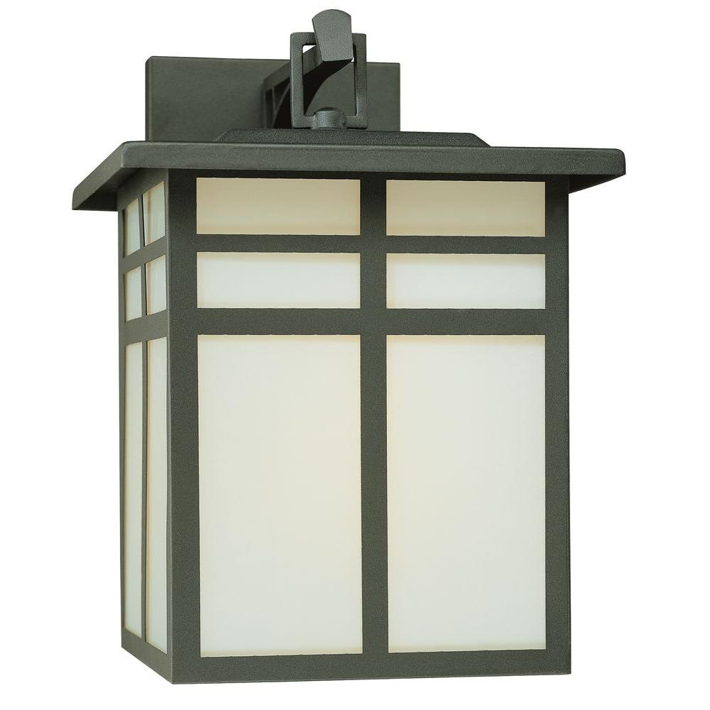 Thomas lighting mission 1 light black outdoor wall mount lantern sl90077 the home depot for Exterior wall mounted lanterns