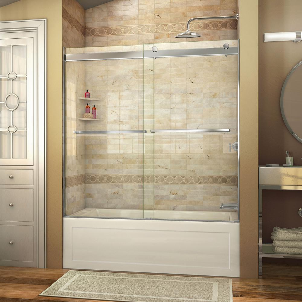 Dreamline Essence 56 In To 60 X Semi Frameless Sliding Tub Door Brushed Nickel