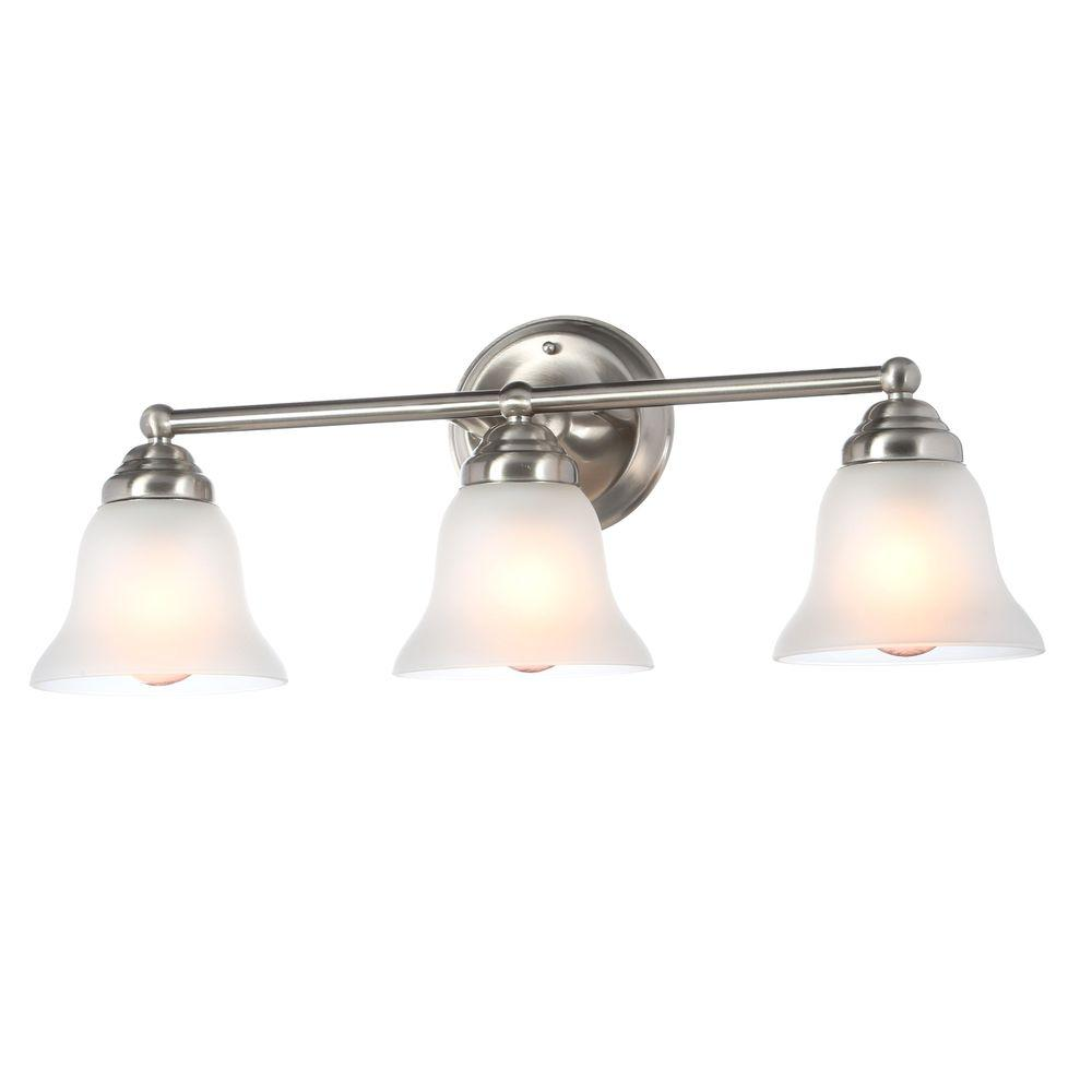 Hampton Bay 3-Light Brushed Nickel Vanity Light with Frosted Glass ...