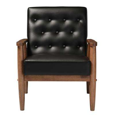 Sorrento Mid-Century Black Faux Leather Upholstered Accent Chair