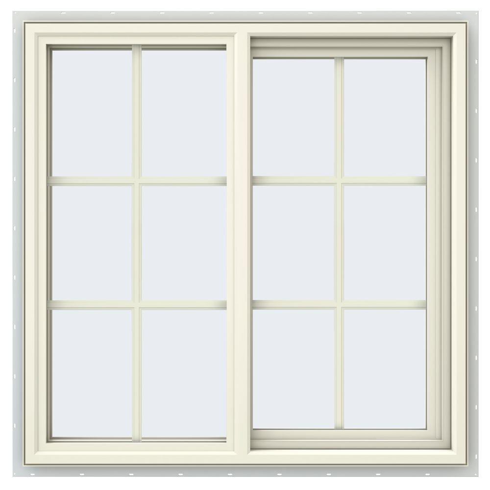 35.5 in. x 35.5 in. V-4500 Series Cream Painted Vinyl Right-Handed