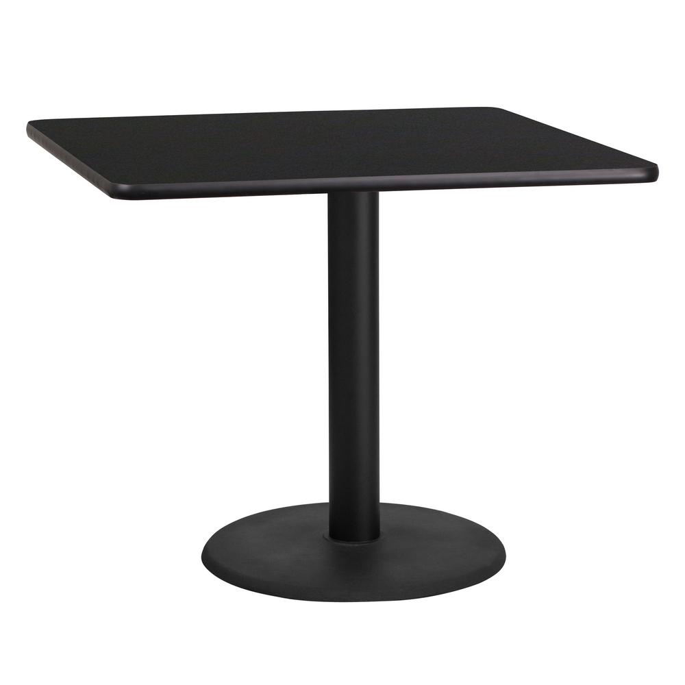 Square Black Laminate Table Top With 24 In Round