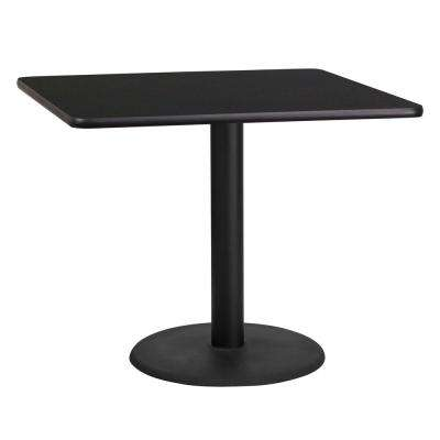 36 in. Square Black Laminate Table Top with 24 in. Round Table Height Base