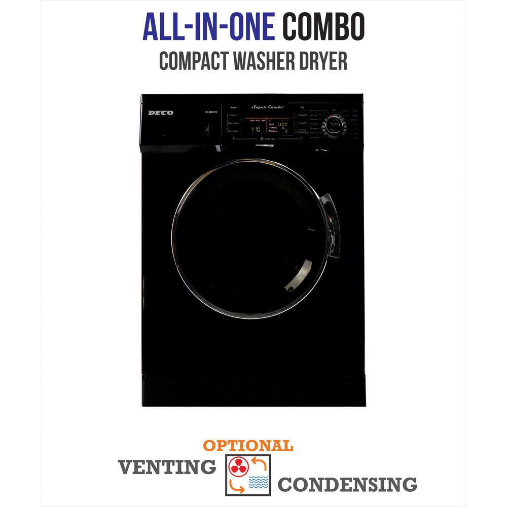 Deco All-in-one 1200 RPM Compact Combo Washer Dryer with Optional Condensing/Venting and Sensor Dry in Black
