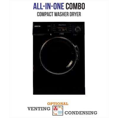 All-in-one 1200 RPM Compact Combo Washer Dryer with Optional Condensing/Venting and Sensor Dry in Black