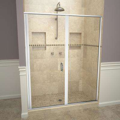 1200 Series 58 in.W x 72-1/8in.H Semi-Frameless Swing Shower Door in Polished Chrome with Handles and Clear Glass