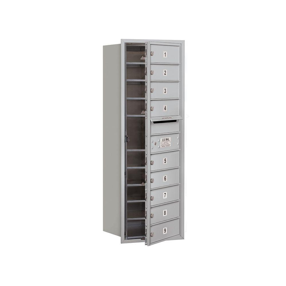 Salsbury Industries 3700 Series 41 in. 11 Door High Unit Aluminum USPS Front Loading 4C Horizontal Mailbox with 9 MB1 Doors