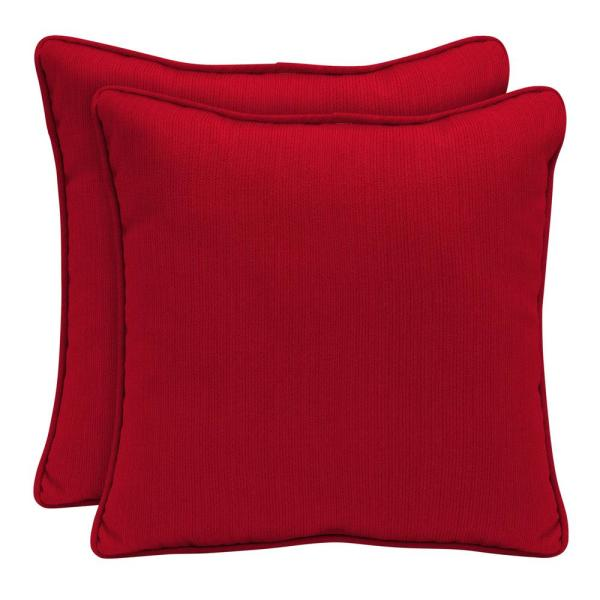 Sunbrella Spectrum Cherry Square Outdoor Throw Pillow (2-Pack)