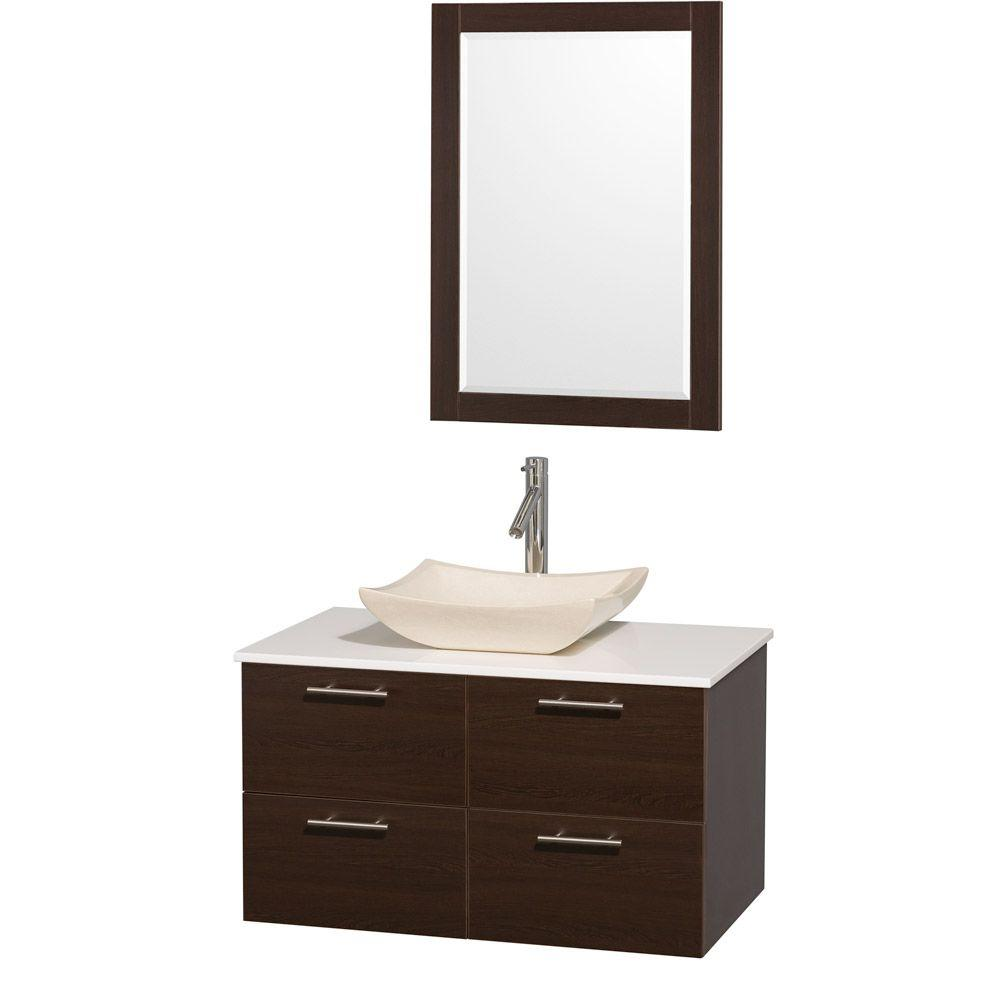 Amare 36 in. Vanity in Espresso with Man-Made Stone Vanity Top
