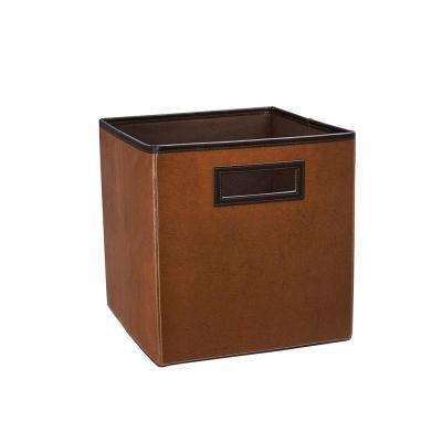 10.5 in. x 11 in. x 10.5 in. Cinnamon Brown Faux Leather Storage Drawer