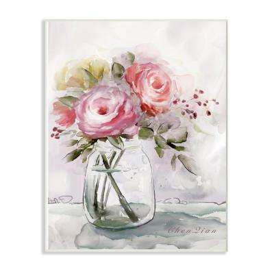 "12.5 in. x 18.5 in. ""Muted Watercolor Flowers in a Mason Jar"" by Artist Main Line Art & Design Wood Wall Art"
