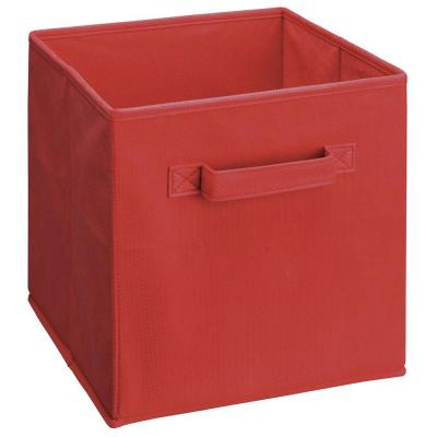11 in. D x 11 in. H x 11 in. W Red Fabric Cube Storage Bin