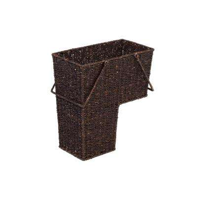 8 in. x 16 in. Wicker Storage Stair Basket With Handles (Brown)