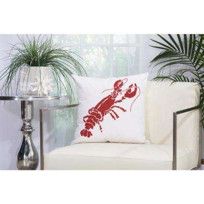 Beaded Lobster 18 in. x 18 in. Red and White Indoor and Outdoor Pillow