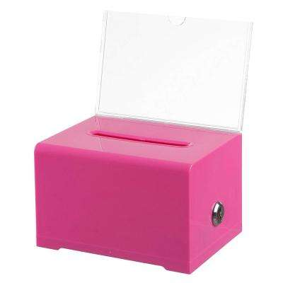 Surprising Acrylic Clear Locking Suggestion Box Pink Beutiful Home Inspiration Xortanetmahrainfo