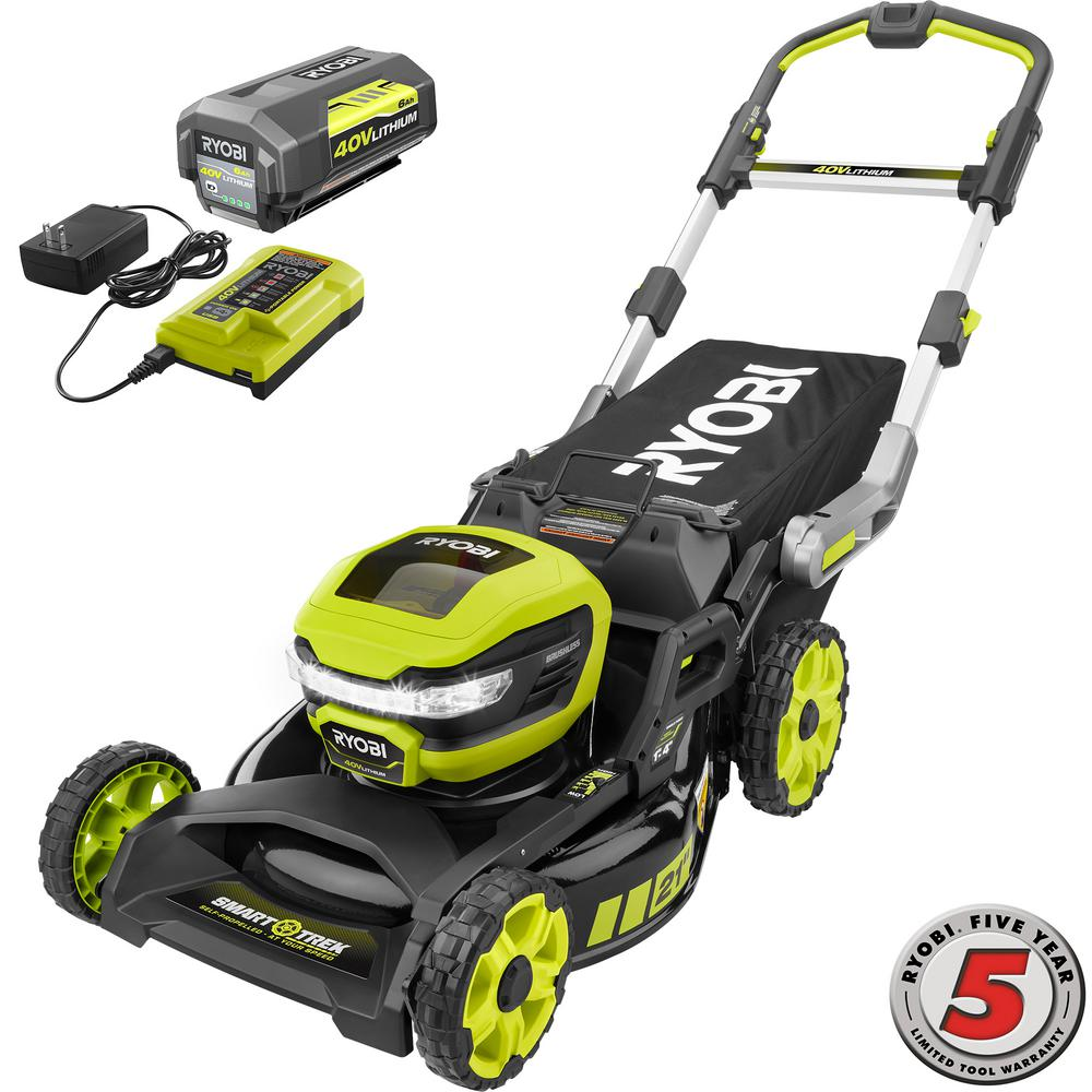 RYOBI 21 in. 40-Volt Brushless Lithium-Ion Cordless SMART TREK Self-Propelled Walk Behind Mower with 6.0Ah Battery and Charger