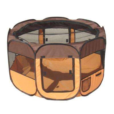 All-Terrain Lightweight Easy Folding Wire-Framed Collapsible Travel Dog Playpen in Brown/Orange - LG