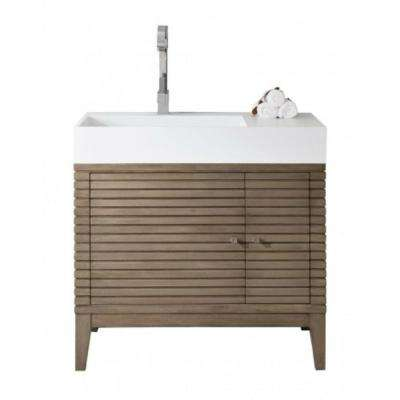 Linear 36 in. W Single Vanity in Whitewashed Walnut with Solid Surface Vanity Top in White with White Basin