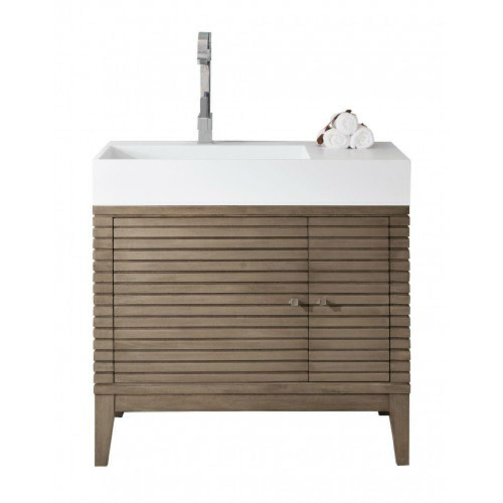 James Martin Vanities Linear 36 in. W Single Bath Vanity in Whitewashed Walnut with Solid Surface Vanity Top in White with White Basin