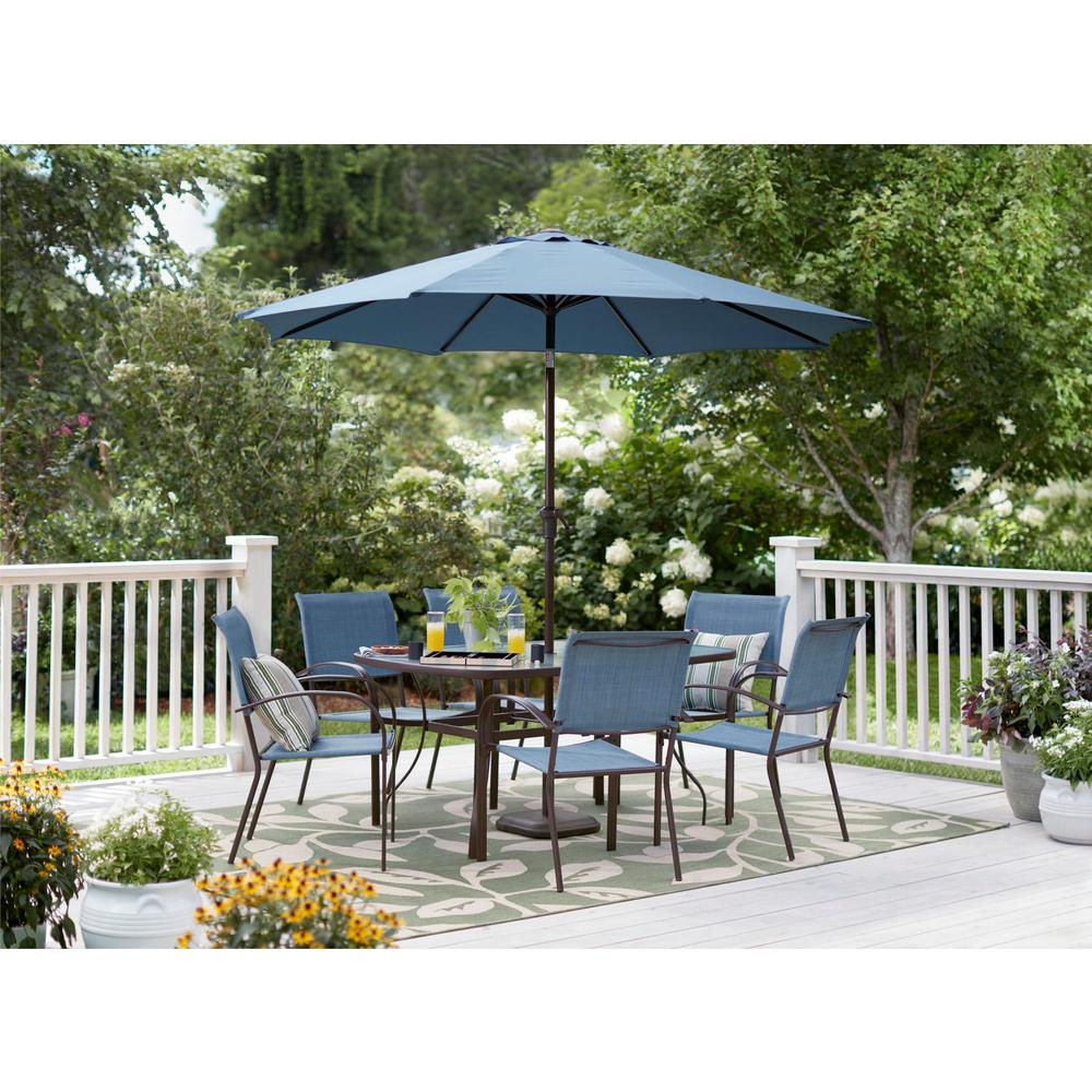 Hampton Bay Mix and Match Brown Stackable Sling Outdoor Dining Chair in Conley Denim (2-Pack)