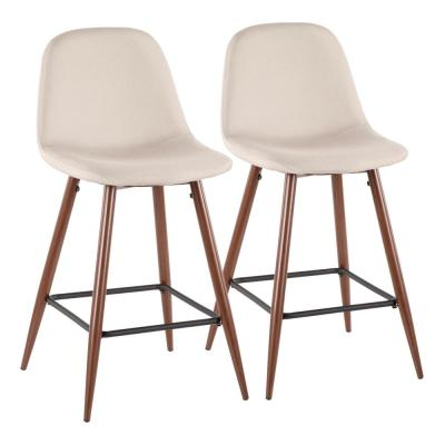 Pebble 24 in. Walnut and Beige Counter Stool (Set of 2)