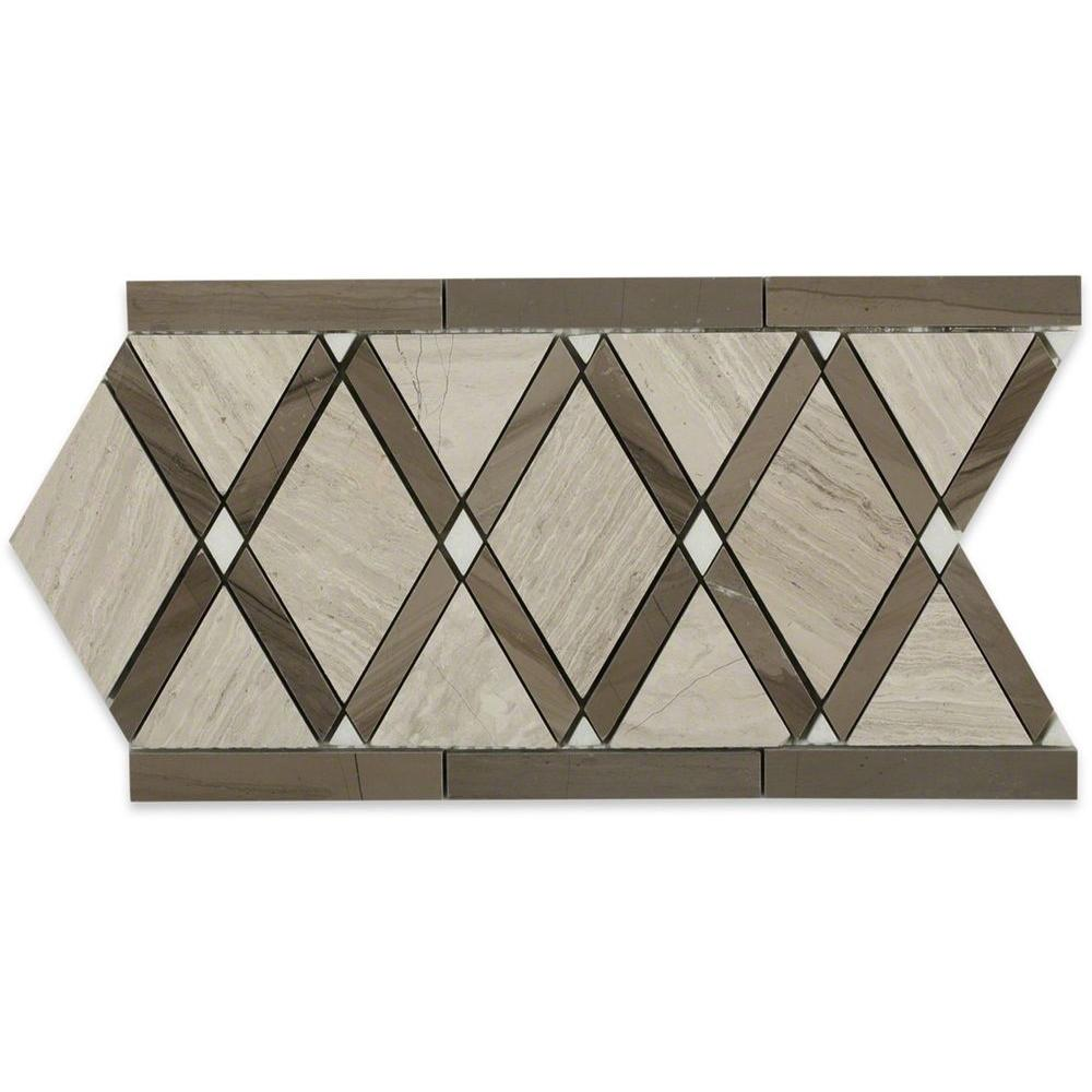 Ivy Hill Tile Grand Athens Gray Border 6 in. x 12 in. x 10 mm Polished Marble Floor and Wall Tile