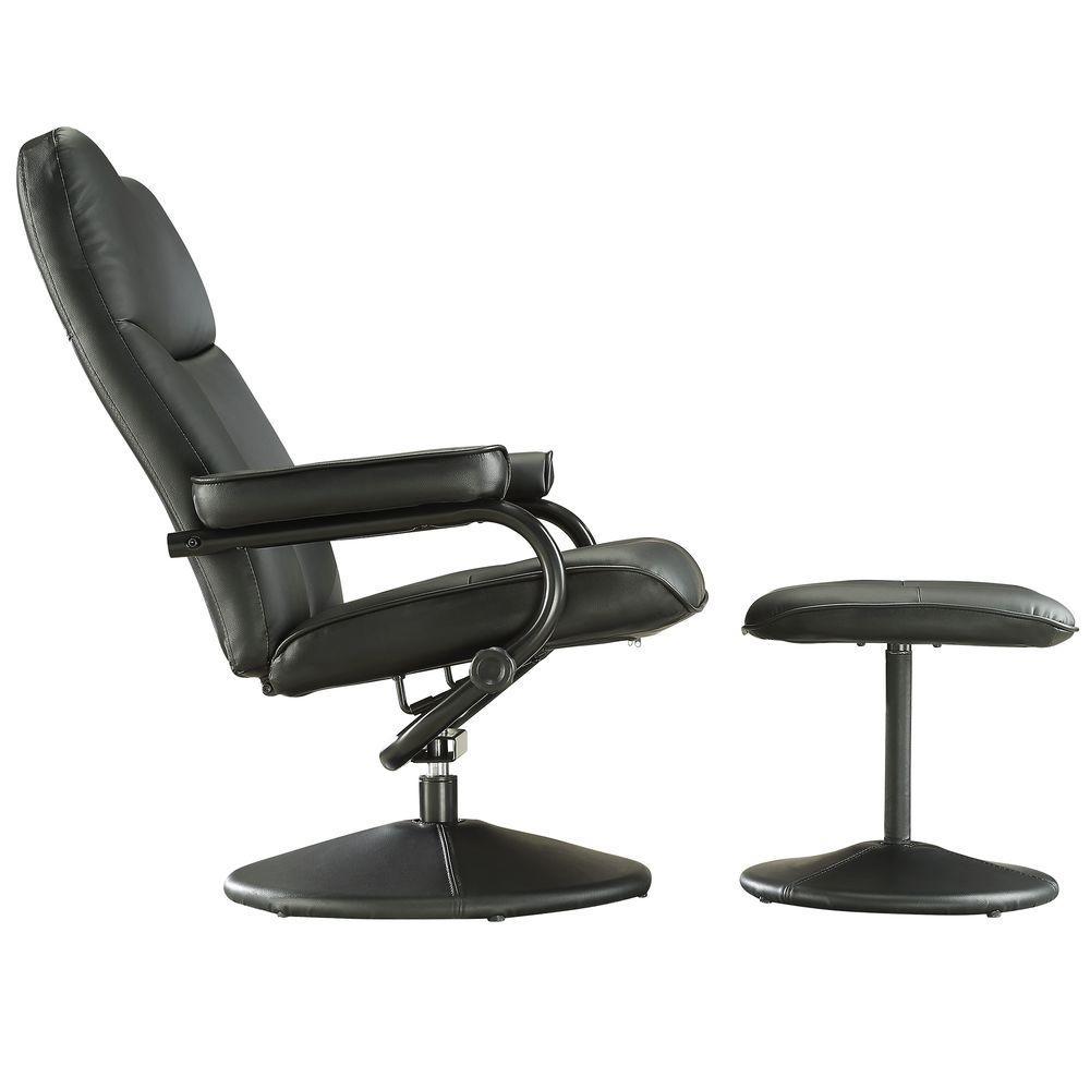 Internet #206375479. +4. HomeSullivan Hawkins Black Faux Leather Swivel  Chair With Ottoman