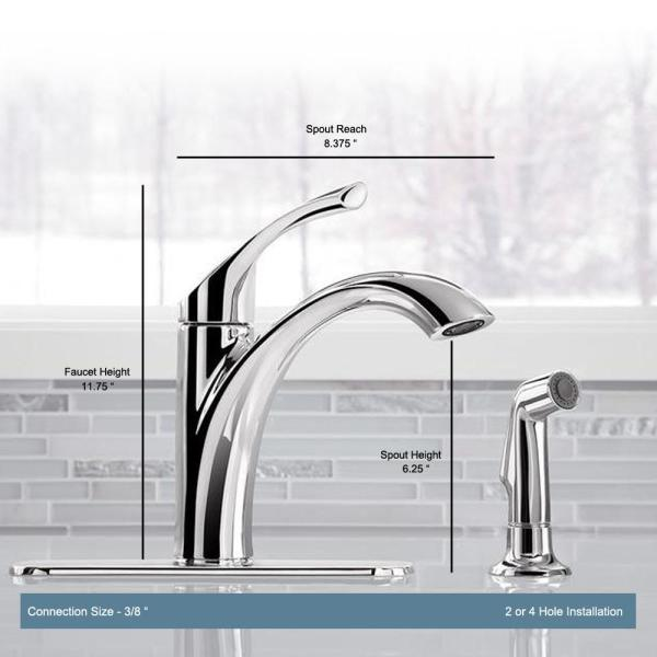 Kohler Mistos Single Handle Standard Kitchen Faucet With Side Sprayer In Polished Chrome K R72508 Cp The Home Depot