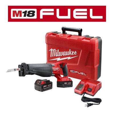 M18 FUEL 18-Volt Lithium-Ion Brushless Cordless SAWZALL Reciprocating Saw Kit W/(2) 5.0Ah Batteries, Charger & Hard Case